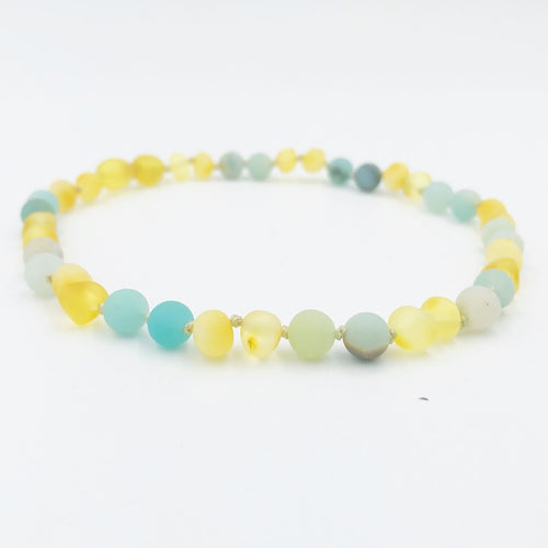 Lemon Vines Amazonite Unpolished Honey Baltic Amber Necklace - Bloom Kids Collection - Lemon Vines