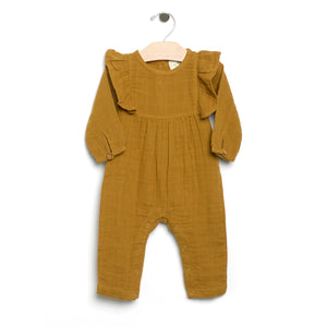 City Mouse Muslin Long Flutter Romper - Bronze - Bloom Kids Collection - City Mouse