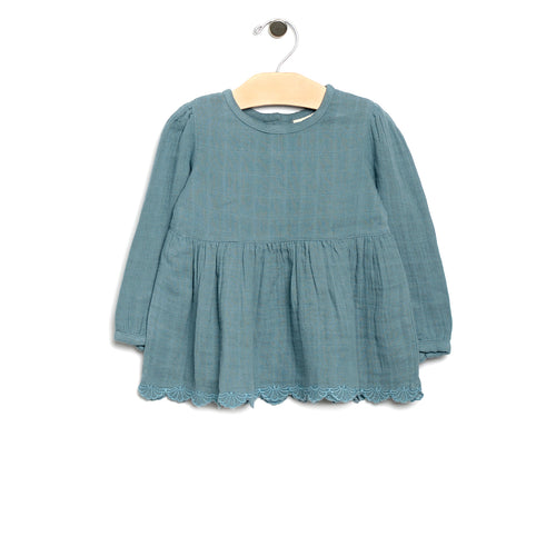 City Mouse Muslin Peplum Tunic - Lake - Bloom Kids Collection - City Mouse
