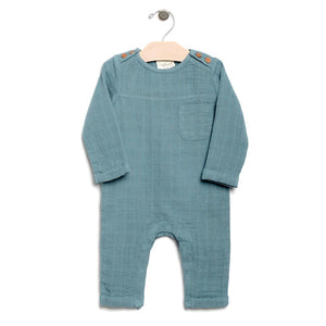 City Mouse Muslin Mr. Romper - Lake - Bloom Kids Collection - City Mouse