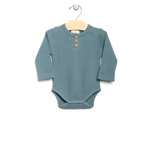 City Mouse Waffle Bodysuit - Lake - Bloom Kids Collection - City Mouse