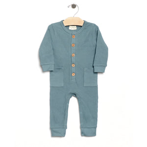 City Mouse Waffle Button Romper - Lake - Bloom Kids Collection - City Mouse
