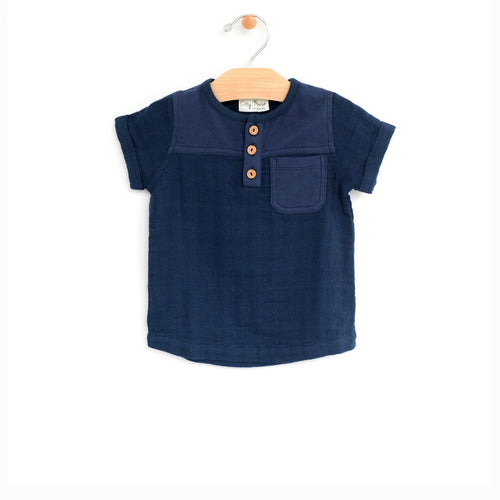 City Mouse Woven Henley Pocket Tee - Midnight Blue