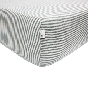 Burt's Bees Essentials Stripe Crib Sheet - Heather Grey - Bloom Kids Collection - Burt's Bees