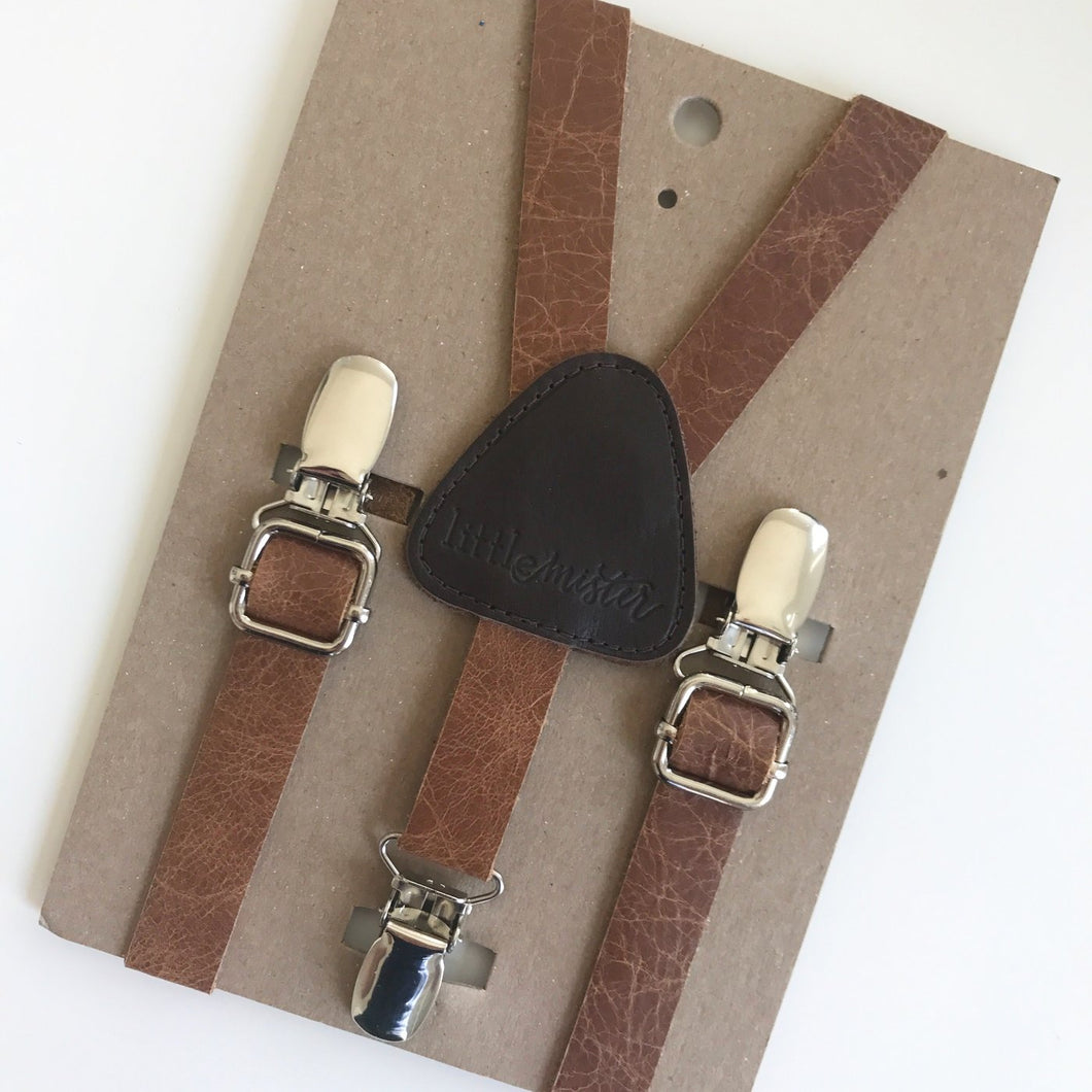 Little Mister Suspenders - Leather - Bloom Kids Collection - Little Mister