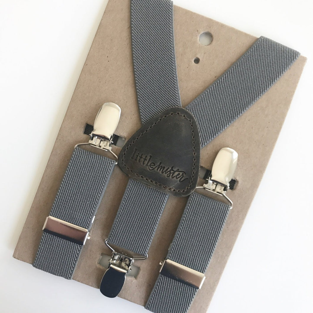 Little Mister Suspenders - Charcoal - Bloom Kids Collection - Little Mister