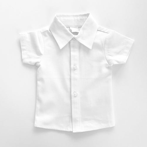 Little Mister Button Up Shirt - White - Bloom Kids Collection - Little Mister