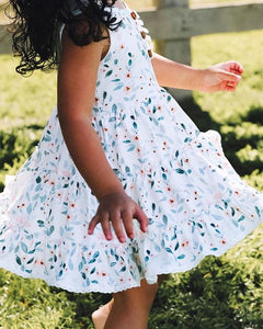 Made by Molly White Blossom Triple Ruffle Twirl Dress