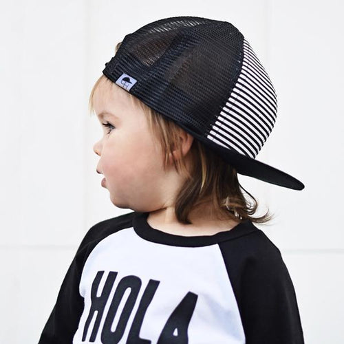 George Hats Black and White Stripe Trucker Hat - Bloom Kids Collection - George Hats