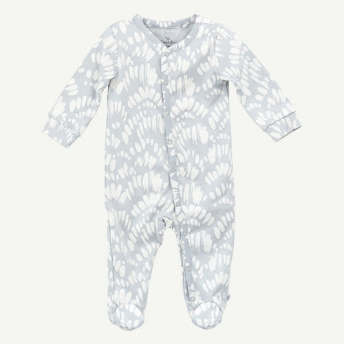 Oliver and Rain Light Blue Brush Print Pima Cotton Sleep and Play - Bloom Kids Collection - Oliver and Rain