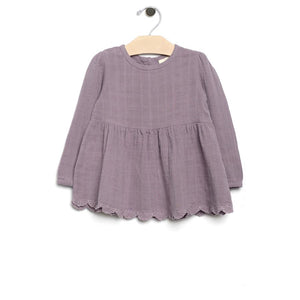 City Mouse Muslin and Lace Peplum - Violet