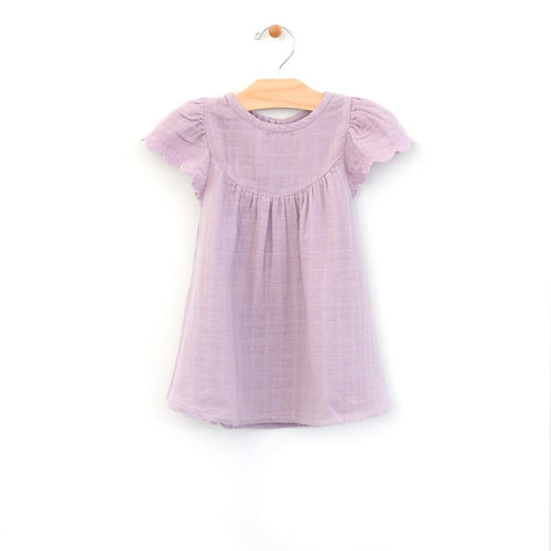 City Mouse Lace Sleeve Muslin Dress - Lilac