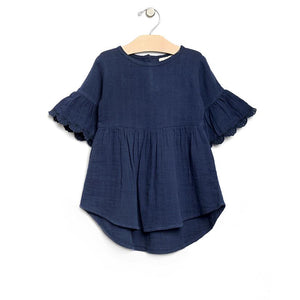 City Mouse Muslin Flutter Sleeve Dress - Midnight Blue
