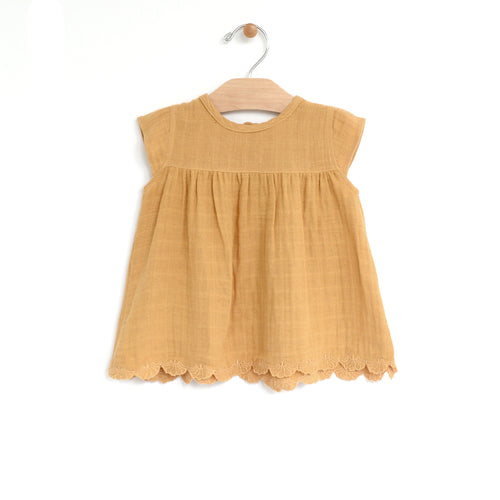 City Mouse Muslin Embossed Flowy Top - Straw