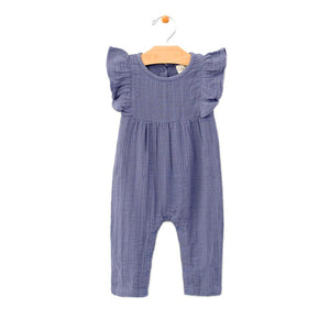 City Mouse Muslin Long Flutter Romper - Periwinkle - Bloom Kids Collection - City Mouse