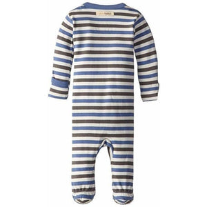 L'ovedbaby Organic Footed Overall - Slate Stripe - Bloom Kids Collection - L'ovedbaby