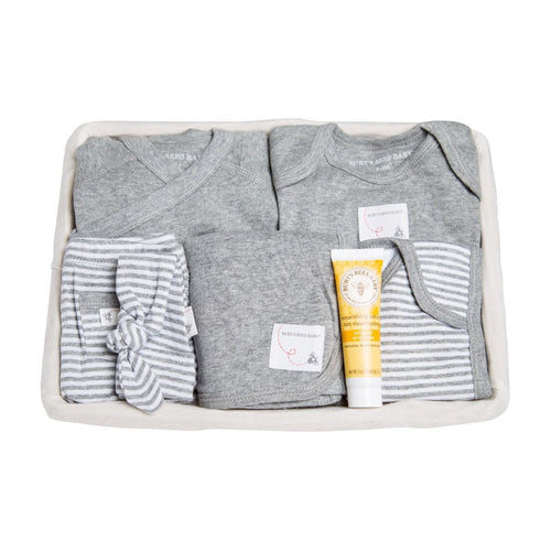 Burt's Bees Take Me Home Striped 9 Piece Basket - Heather Grey - Bloom Kids Collection - Burt's Bees