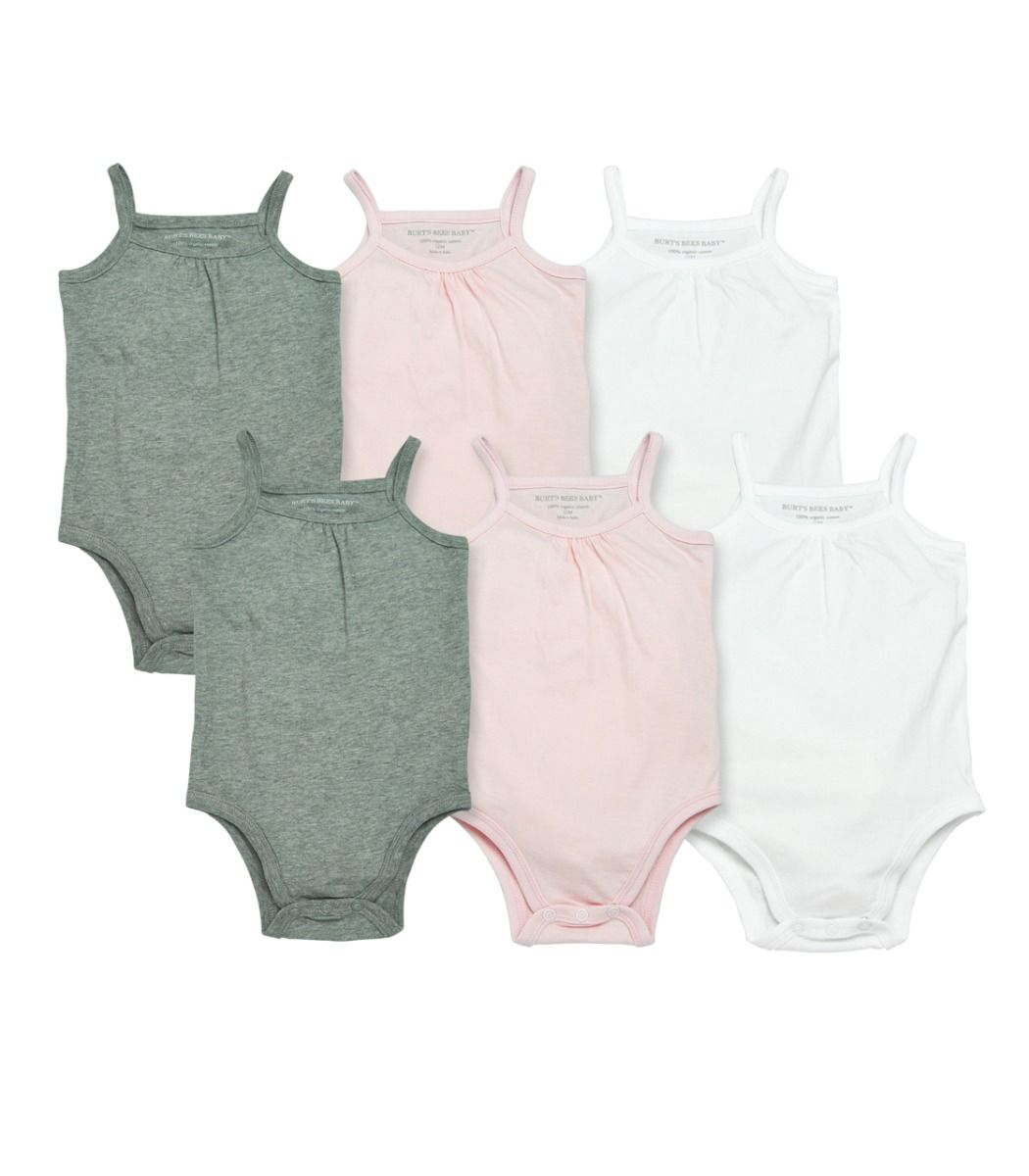 Burt's Bees Set of 6 Solid Camisole Bodysuits - Multi - Bloom Kids Collection - Burt's Bees