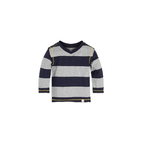 Burt's Bees Rugby Stripe High V Tee - Midnight - Bloom Kids Collection - Burt's Bees