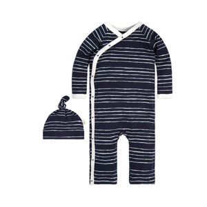 Burt's Bees Melody Stripe Kimono Coverall & Hat Set - Midnight - Bloom Kids Collection - Burt's Bees