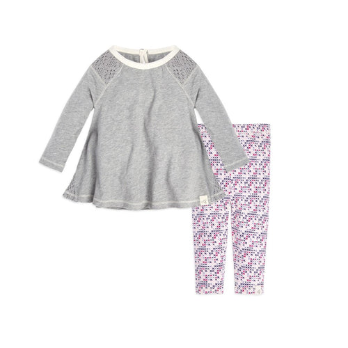 Burt's Bees Crochet Inset Tunic & Legging Set - Heather Grey - Bloom Kids Collection - Burt's Bees