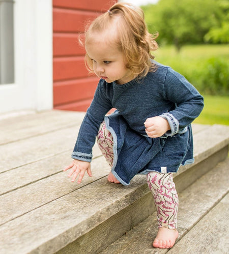 Burt's Bees French Terry Denim Wash Dress & Legging Set - Midnight - Bloom Kids Collection - Burt's Bees