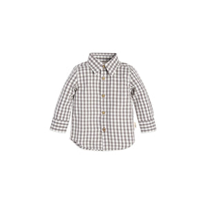Burt's Bees Gingham Button Front Shirt - Charcoal - Bloom Kids Collection - Burt's Bees