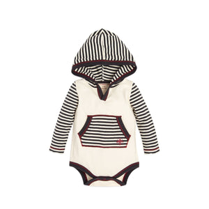 Burt's Bees Candy Cane Stripe Hooded Bodysuit - Ivory - Bloom Kids Collection - Burt's Bees