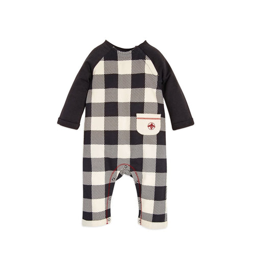 Burt's Bees French Terry Buffalo Check Coverall - Zinc - Bloom Kids Collection - Burt's Bees
