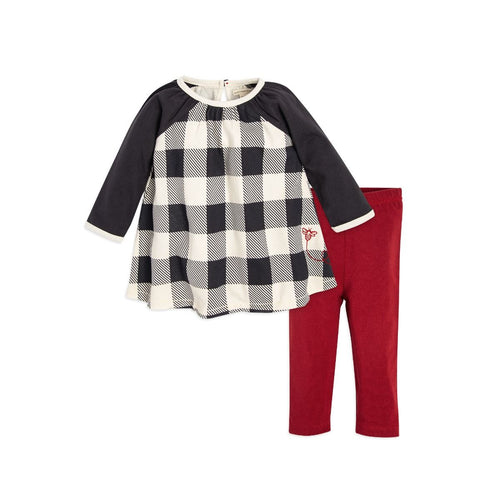 Burt's Bees Buffalo Check Raglan Dress & Legging Set - Zinc - Bloom Kids Collection - Burt's Bees