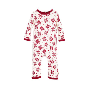 Burt's Bees Geometric Snowflake Ruffled Coverall - Cranberry - Bloom Kids Collection - Burt's Bees
