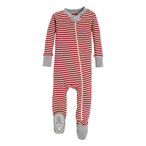 Burt's Bees Candy Cane Stripe Sleeper - Cranberry - Bloom Kids Collection - Burt's Bees