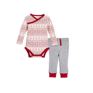 Burt's Bees Fair Isle Kimono Bodysuit & Pant Set - Cranberry - Bloom Kids Collection - Burt's Bees