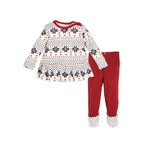 Burt's Bees Penned Fair Isle Dress & Pant Set PJ's - Cranberry - Bloom Kids Collection - Burt's Bees