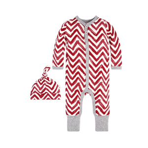 Burt s Bees Watercolor Chevron Ruffled Coverall   Hat Set - Cranberry - Bloom  Kids Collection - a8b99557346f