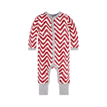 Burt's Bees Watercolor Chevron Ruffled Coverall & Hat Set - Cranberry - Bloom Kids Collection - Burt's Bees