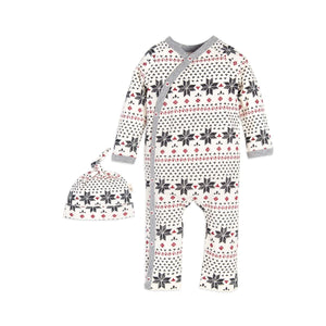 Burt's Bees Hand Drawn Fair Isle Kimono Coverall & Hat Set - Ivory - Bloom Kids Collection - Burt's Bees