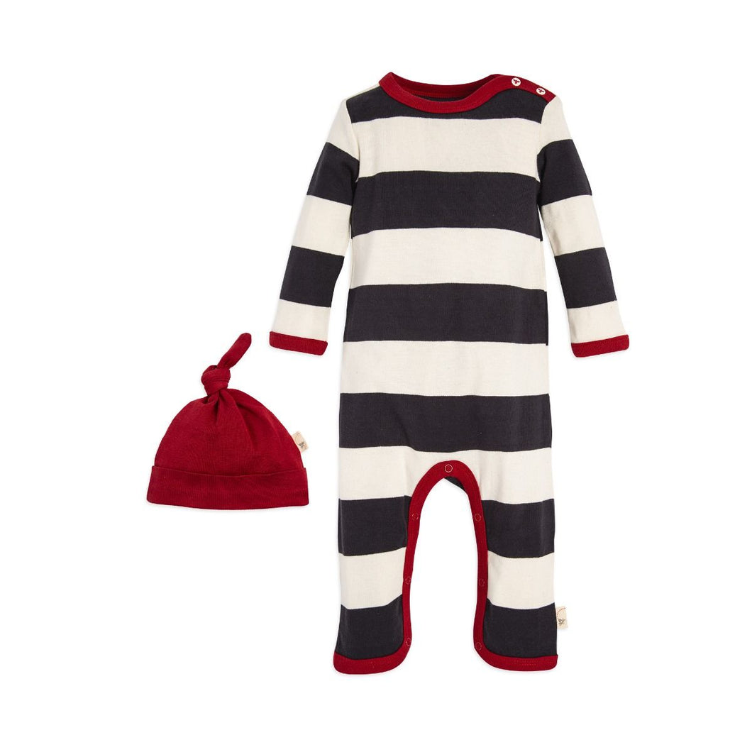 Burt's Bees Rugby Stripe Coverall & Hat Set - Zinc - Bloom Kids Collection - Burt's Bees