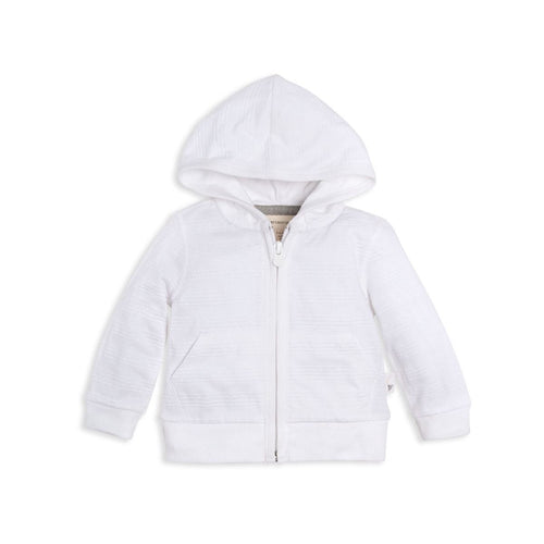 Burt's Bees Jacquard Stripe Zip Front Hoodie - Cloud - Bloom Kids Collection - Burt's Bees