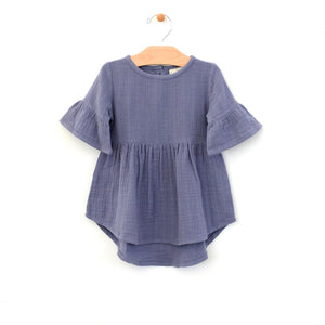 City Mouse Muslin Bell Sleeve Dress - Periwinkle - Bloom Kids Collection - City Mouse