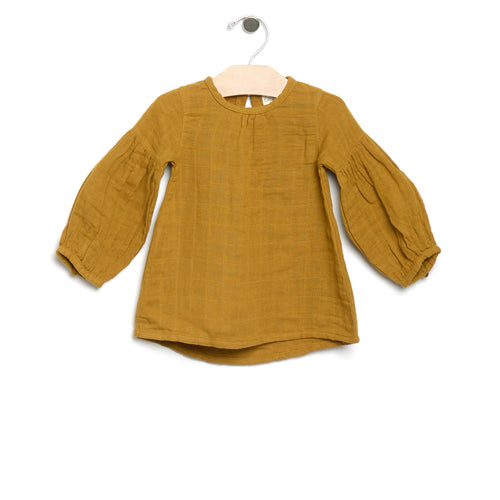 City Mouse Muslin Balloon Sleeve Tunic - Rust - Bloom Kids Collection - City Mouse