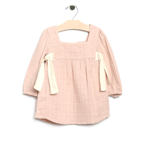 City Mouse Muslin Side Ties Dress - Soft Rose - Bloom Kids Collection - City Mouse