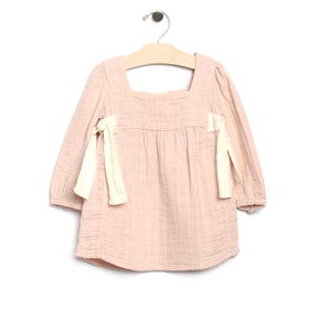 City Mouse Muslin Side Tie Dress - Soft Rose - Bloom Kids Collection - City Mouse