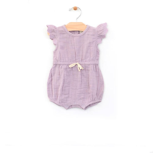 City Mouse Muslin Tie Romper - Lilac - Bloom Kids Collection - City Mouse