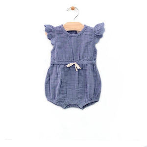 City Mouse Muslin Tie Romper - Periwinkle - Bloom Kids Collection - City Mouse