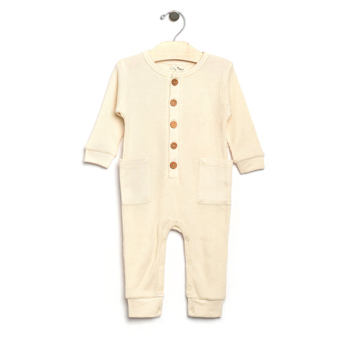 City Mouse Waffle Button Romper - Natural - Bloom Kids Collection - City Mouse