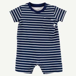 Oliver and Rain Striped Romper - Navy and White
