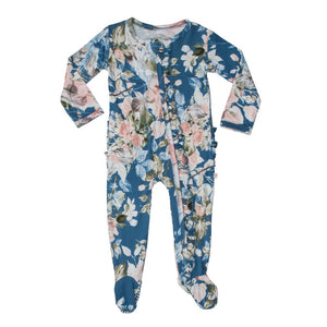 Posh Peanut Footie Ruffled Zippered One Piece - Blue Rose