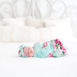 Posh Peanut Swaddle Headband Set - Aqua Floral Infant