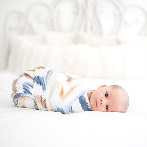 Posh Peanut Swaddle Set - Neutral Watercolor Chevron